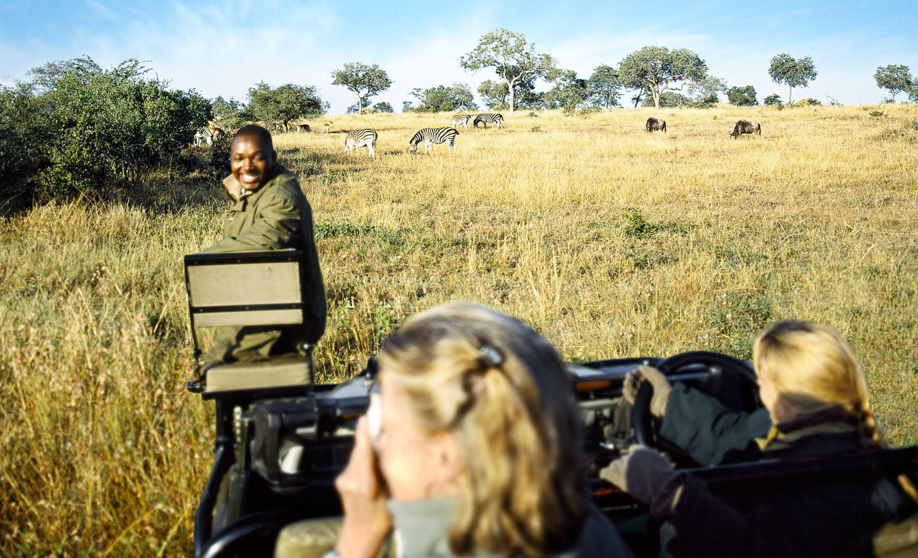 The tracker, whose seat is mounted on the front of the safari vehicle, spots a photo op of wildebeest and zebra